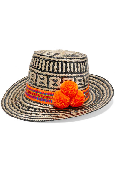 Yosuzi - Pompom-embellished Woven Straw Sunhat - Beige