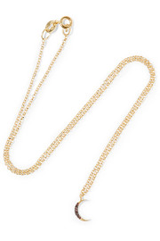Small Moon gold-plated crystal necklace