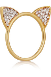 Cat gold-plated topaz ring