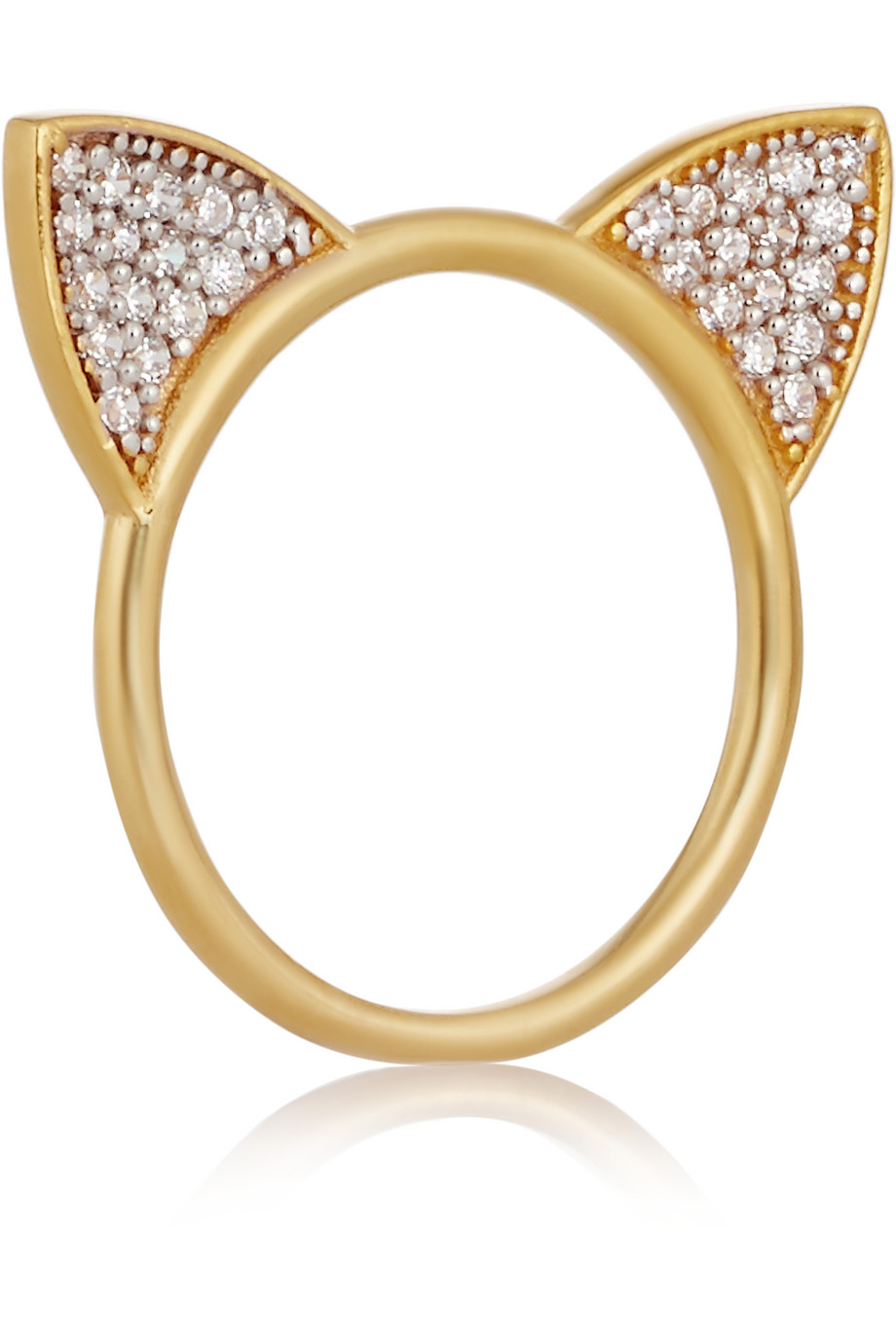 Cat Gold-Plated Topaz Ring, Women's, Size: 8