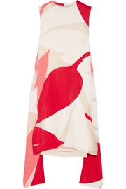 Printed mesh-paneled faille dress