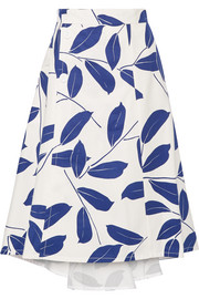 Printed cotton and linen-blend drill skirt