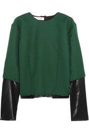 Satin-paneled twill top