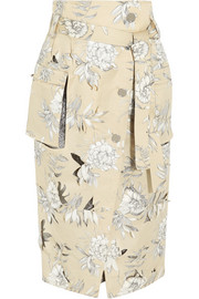 Floral-print cotton and linen-blend skirt
