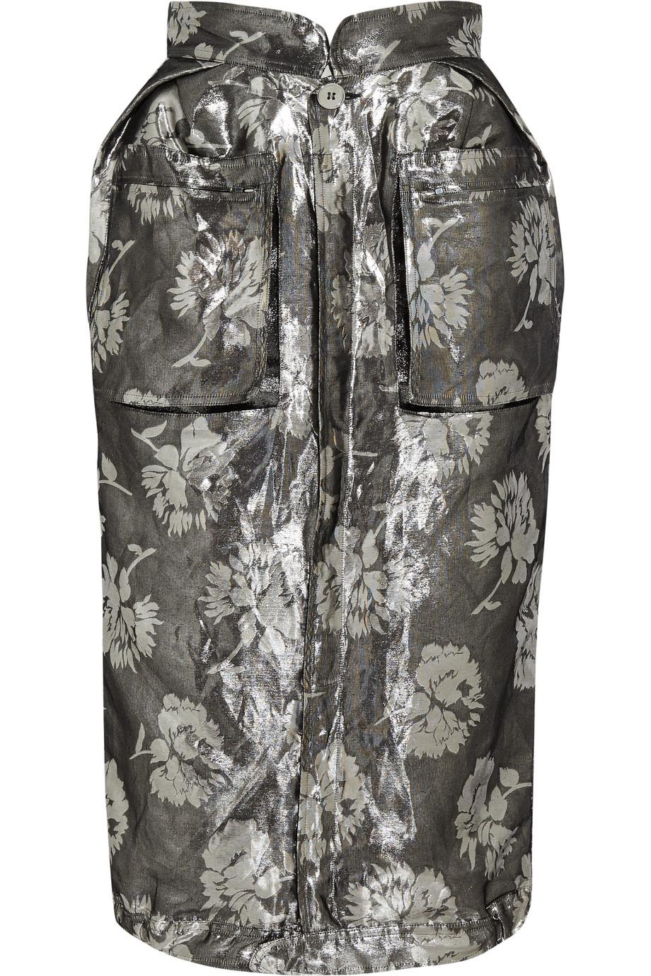 Maison Margiela Metallic Jacquard Skirt, Silver/Metallic, Women's, Size: 40
