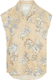 Cutout floral-print cotton and linen-blend top