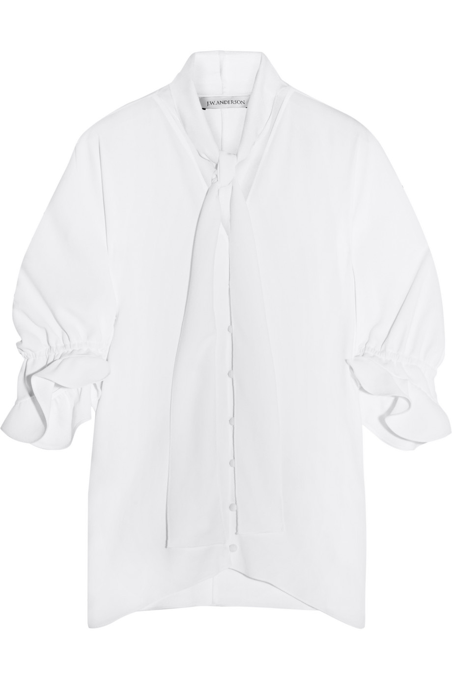 J.W.Anderson Pussy-Bow Ruffled Crepe Blouse, Size: 6