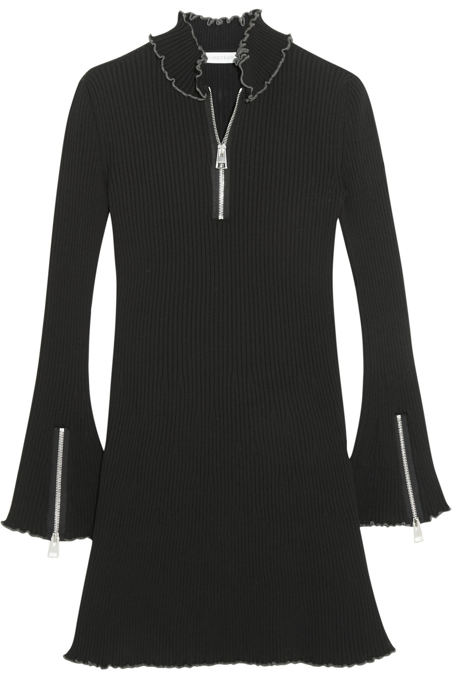 J.W.Anderson Ruffle-Trimmed Ribbed Jersey Mini Dress, Size: XS