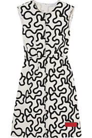 Printed cotton-blend twill mini dress