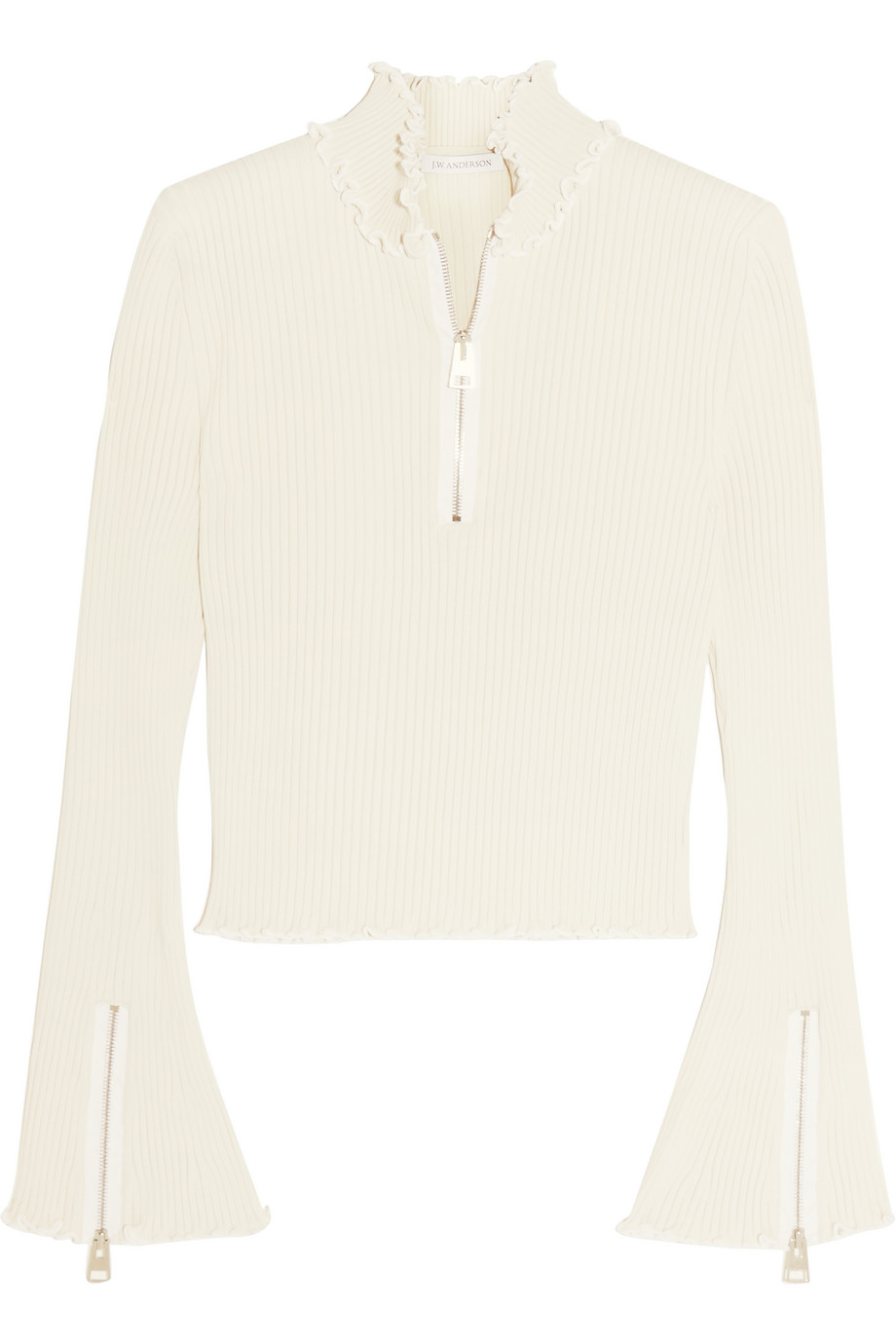 J.W.Anderson Ruffle-Trimmed Ribbed Jersey Turtleneck Sweater, Size: M