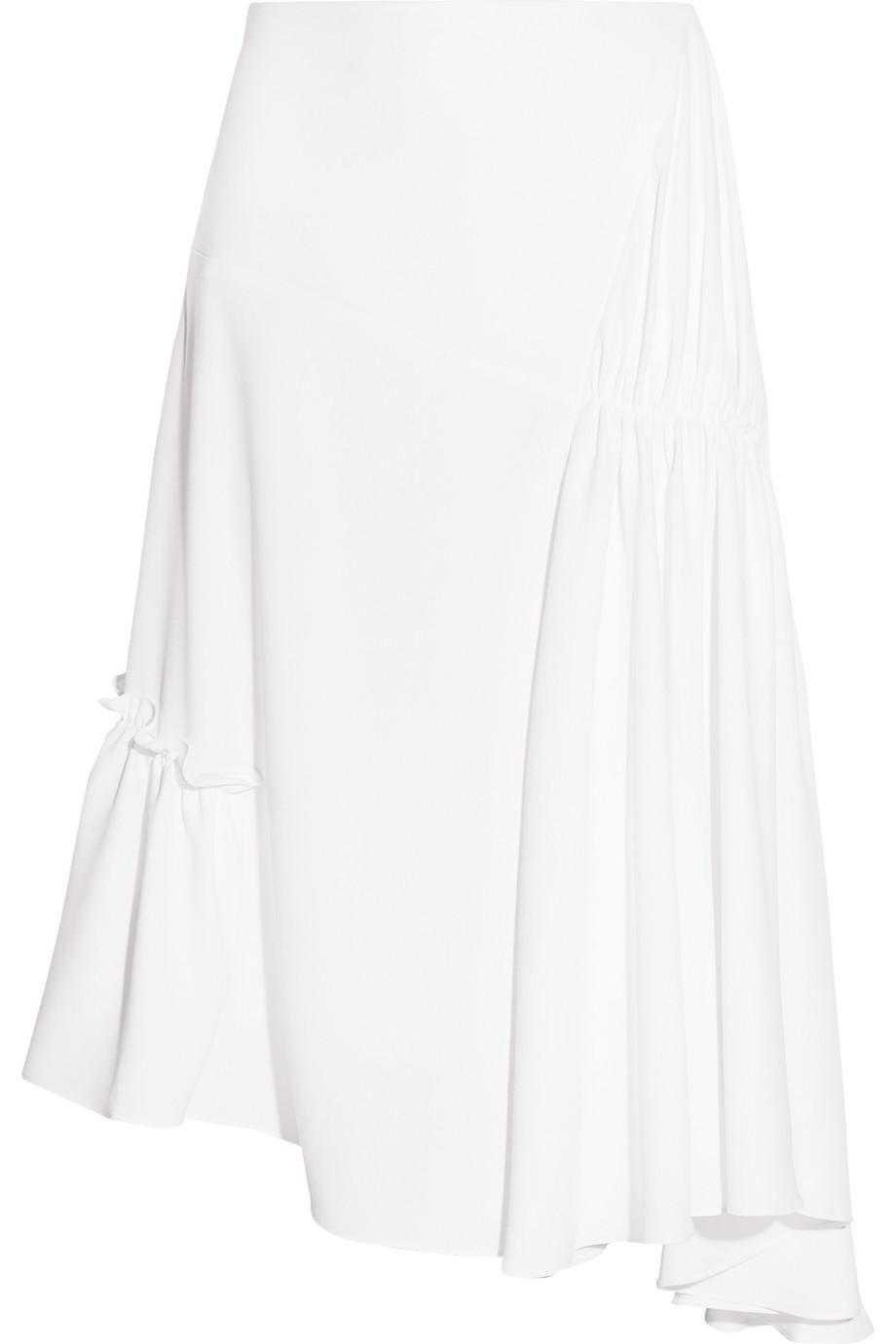 J.W.Anderson Asymmetric Ruched Crepe Midi Skirt, White, Women's, Size: 6