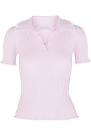 Ruffled ribbed-knit polo shirt