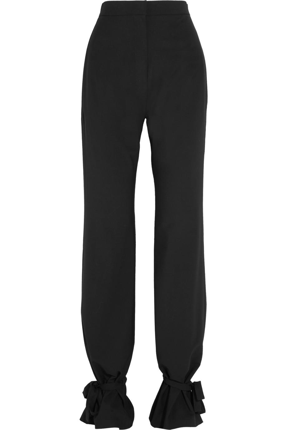 J.W.Anderson Tie-Detailed Stretch-Piqué Wide-Leg Pants, Black, Women's, Size: 8