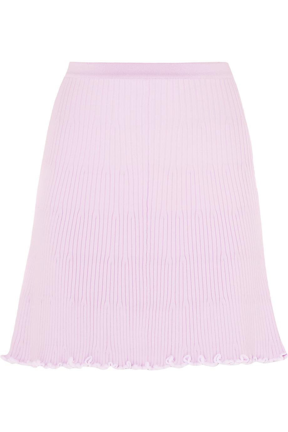 J.W.Anderson Ruffled Ribbed-Knit Mini Skirt, Size: L