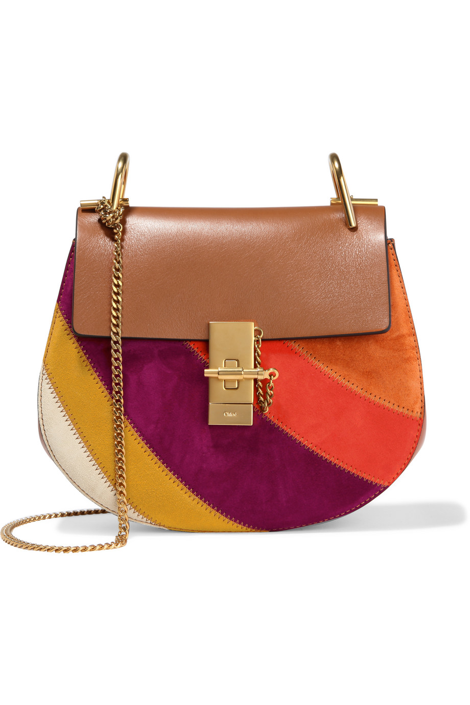 Chloé Drew Small Leather and Suede Shoulder Bag, Light Brown/Purple, Women's