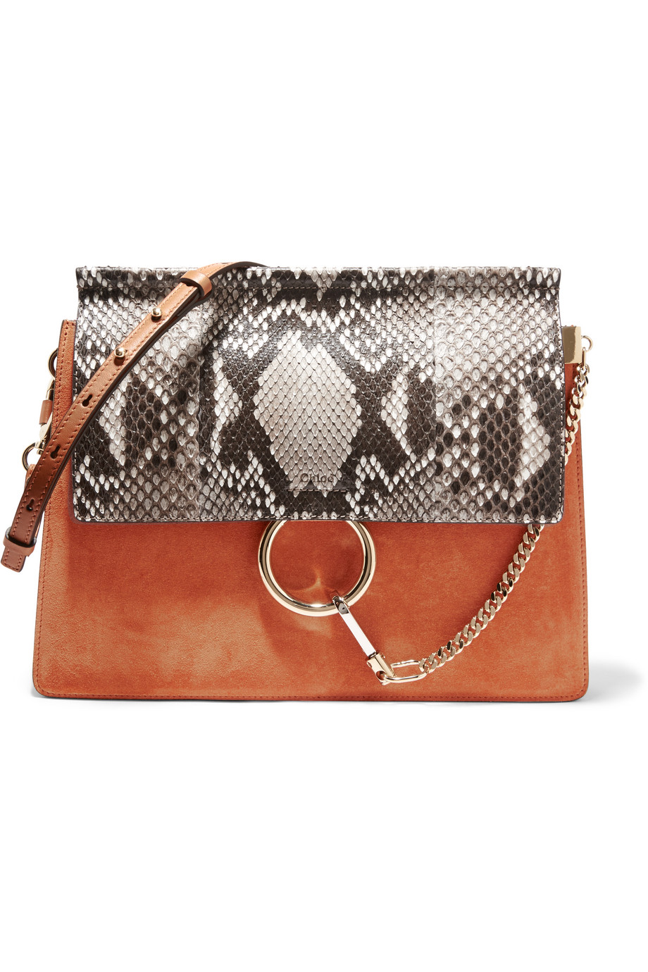 Chloé Faye Medium Python, Suede and Leather Shoulder Bag, Tan/Gray, Women's