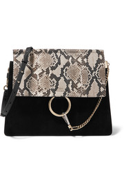 Chloé Faye medium python, suede and leather shoulder bag