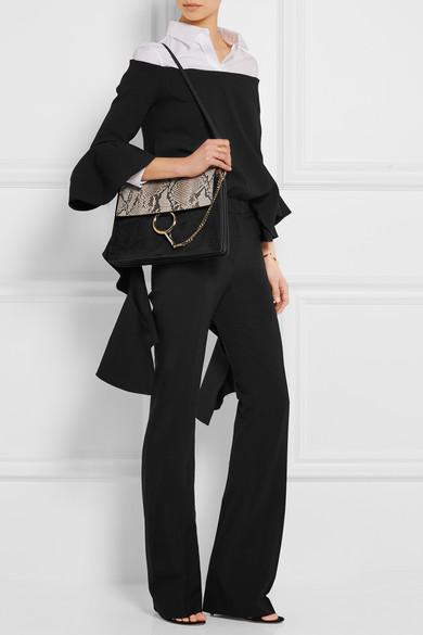 Chlo�� | Faye medium python, suede and leather shoulder bag | NET-A ...