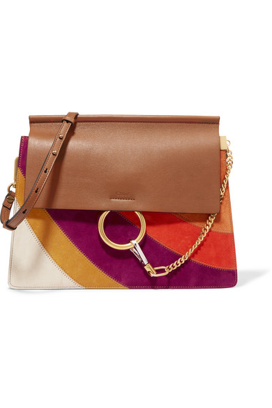 Chloé - Faye Medium Leather And Suede Shoulder Bag - Light brown