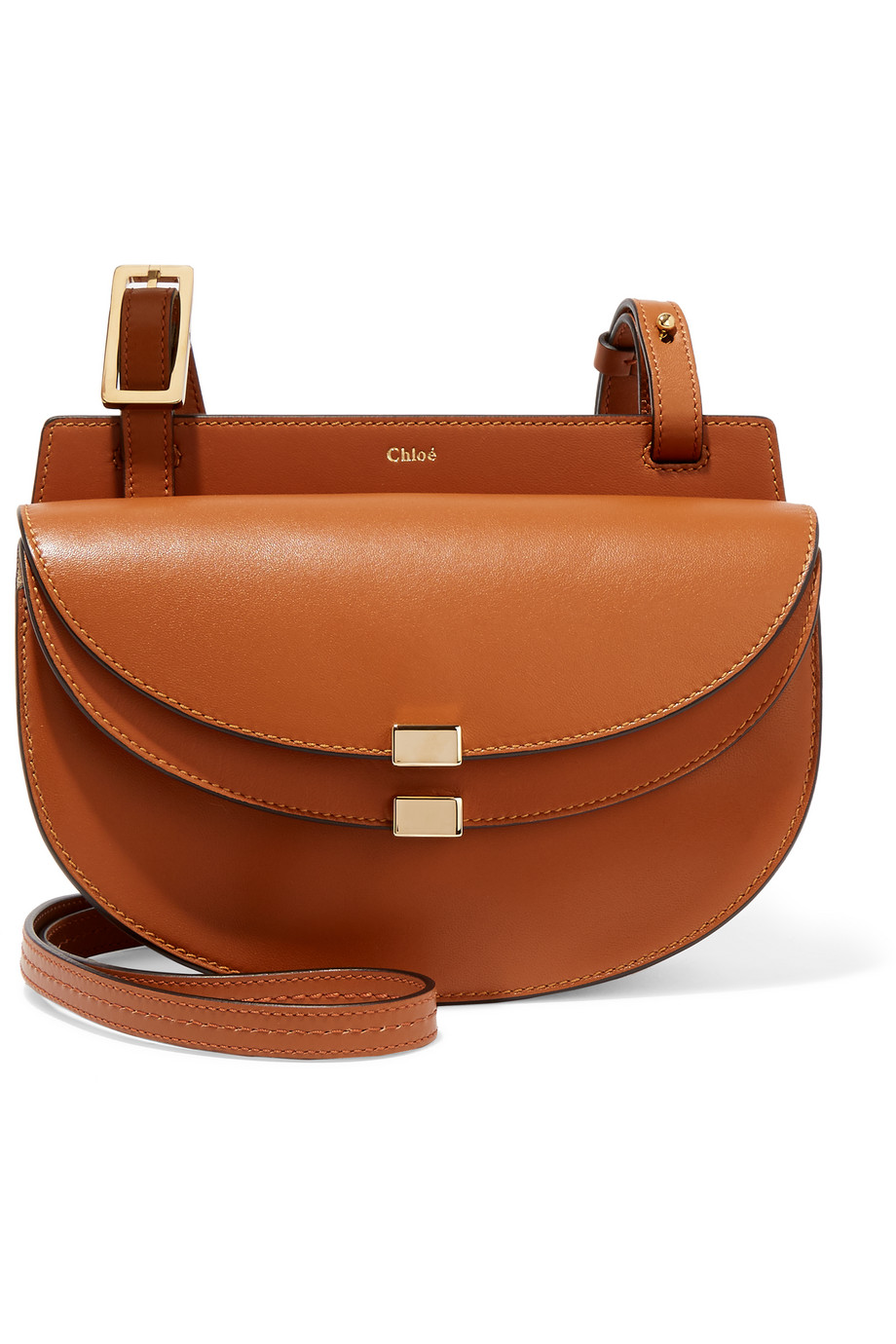 Chloé Georgia Mini Leather Shoulder Bag, Light Brown, Women's