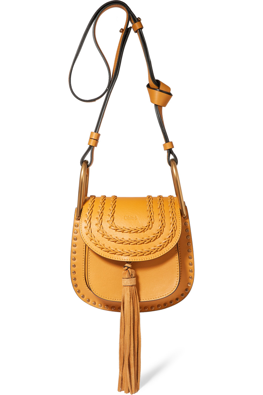 Chloé Hudson Mini Whipstitched Leather Shoulder Bag, Mustard, Women's