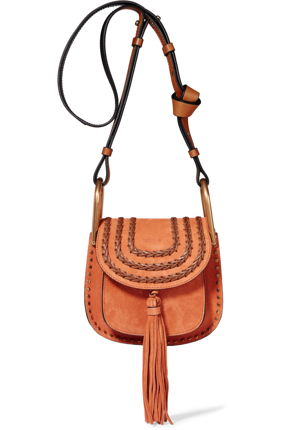 Chloé Hudson Mini Whipstitched Suede Shoulder Bag, Light Brown, Women's