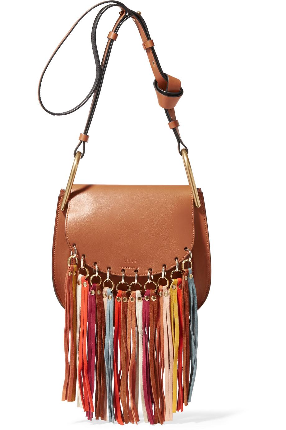 Chloé Hudson Tasseled Leather Shoulder Bag, Light Brown, Women's