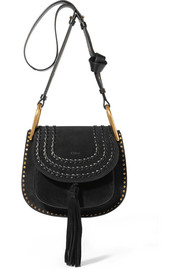Hudson small whipstitched suede shoulder bag