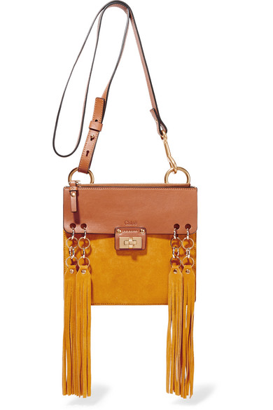 chloe jane mini fringed leather and suede shoulder bag