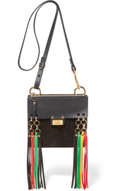 Jane small leather and suede shoulder bag