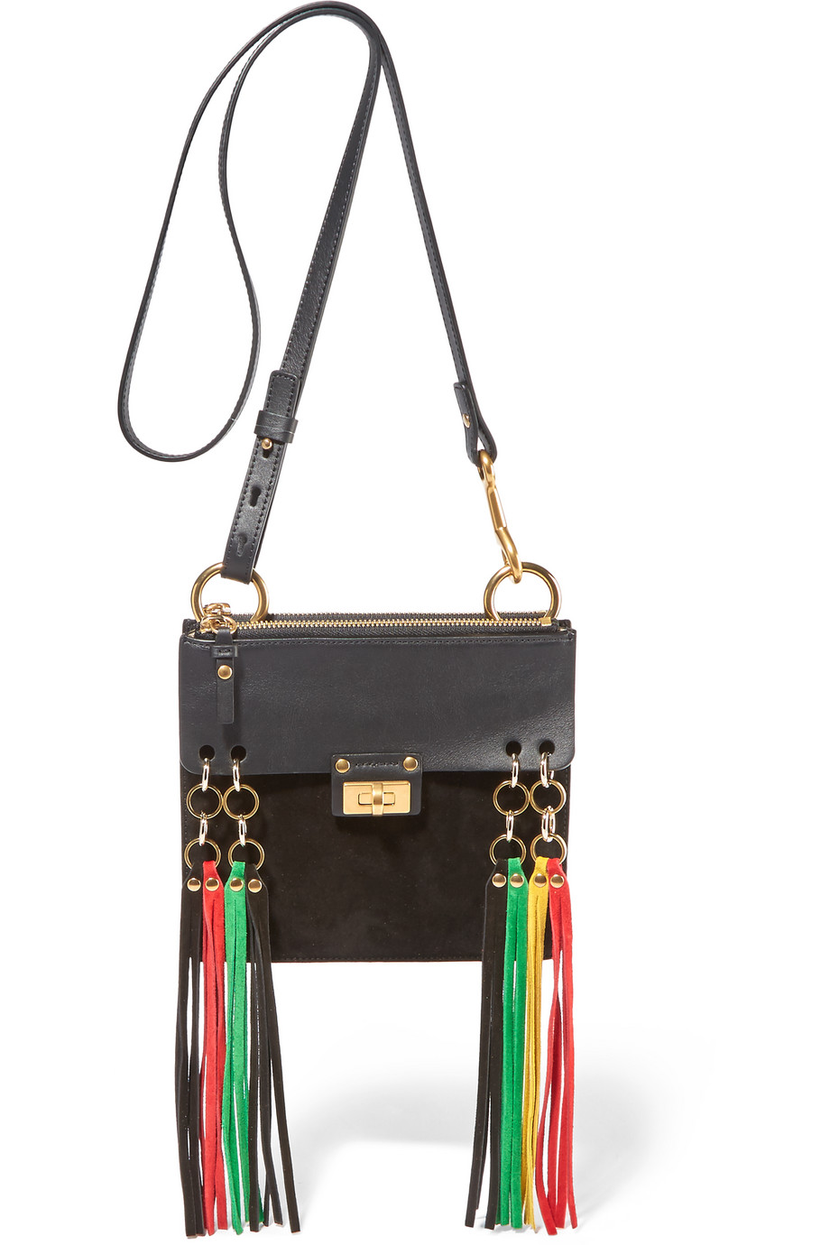 Chloé Jane Small Leather and Suede Shoulder Bag, Black, Women's