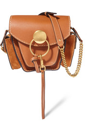 Jodie small leather and suede shoulder bag