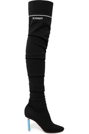 Sock jersey over-the-knee boots