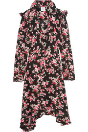 Ruffle-trimmed floral-print crepe midi dress