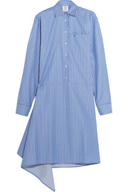 Pinstriped cotton-blend poplin shirt dress