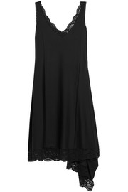 Lace-trimmed stretch-satin dress