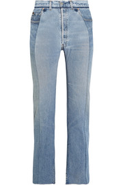 Paneled distressed high-rise straight-leg jeans
