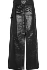Glossed-leather maxi skirt