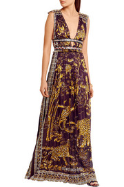 Valentino Leather-trimmed printed cotton gown