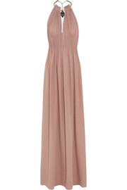 Embellished plissé silk-georgette gown