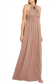 Valentino Embellished plissé silk-georgette gown