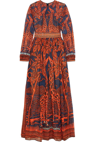 Valentino - Printed Cotton Gown - Orange