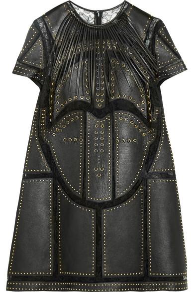 Valentino - Studded Leather-paneled Lace Mini Dress - Black