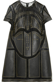 Studded leather-paneled lace mini dress
