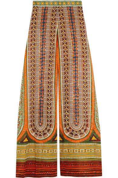 Valentino - Printed Cotton-voile Wide-leg Pants - Orange