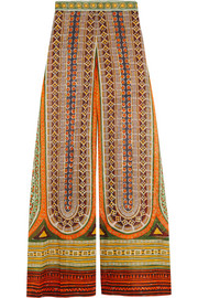 Printed cotton-voile wide-leg pants