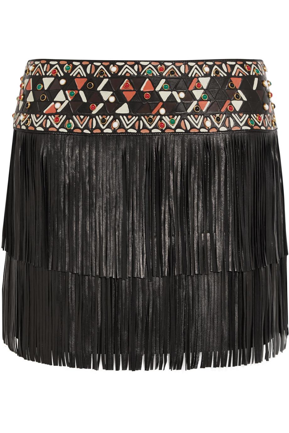 Valentino Fringed Embellished Leather Mini Skirt, Black, Women's, Size: 42