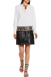 Valentino Embellished cotton-poplin blouse