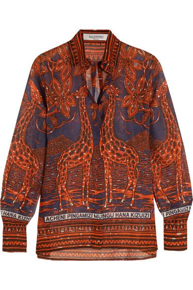 Valentino - Printed Cotton-voile Shirt - Orange