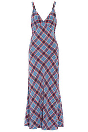 Plaid silk crepe de chine maxi dress